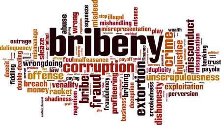 Bribery word cloud concept. Vector illustration Illustration