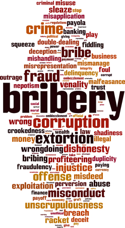 Bribery word cloud concept. Vector illustration Ilustrace