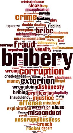 Bribery word cloud concept. Vector illustration Ilustracja