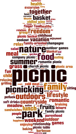 Picnic word cloud concept. Vector illustration