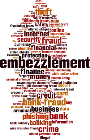 Embezzlement word cloud concept. Vector illustration