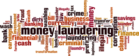 Money laundering word cloud concept. Vector illustration  イラスト・ベクター素材
