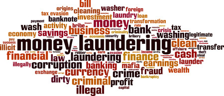 Money laundering word cloud concept. Vector illustration Иллюстрация