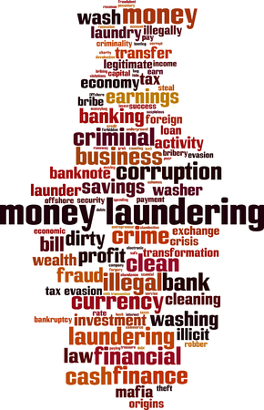 Money laundering word cloud concept. Vector illustration
