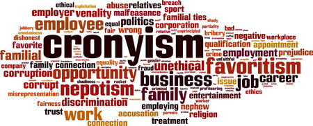 Cronyism word cloud concept. Vector illustration Vettoriali