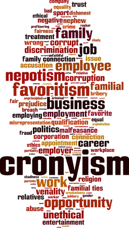 Cronyism word cloud concept. Vector illustration Illustration