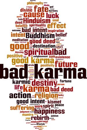 Bad karma word cloud concept. Vector illustration Ilustração