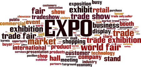 EXPO word cloud concept. Vector illustration