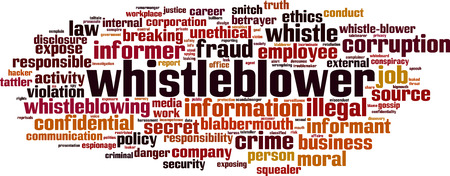 Whistleblower word cloud concept. Vector illustration