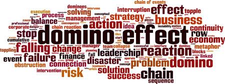 Domino effect word cloud concept. Vector illustration