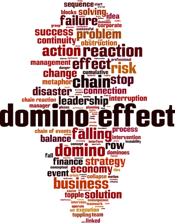 Domino effect word cloud concept. Vector illustration