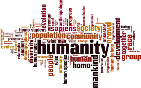 Humanity word cloud concept. Vector illustration Vectores