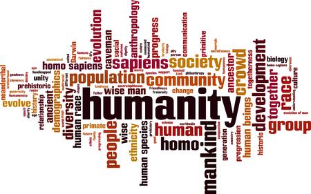 Humanity word cloud concept. Vector illustration Vetores