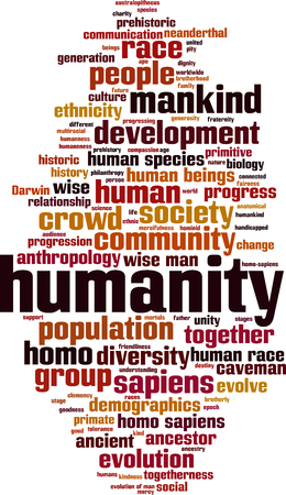 Humanity word cloud concept. Vector illustration Illustration