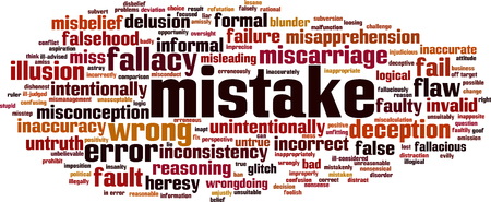 Mistake word cloud concept. Vector illustration Stock Vector - 104465291