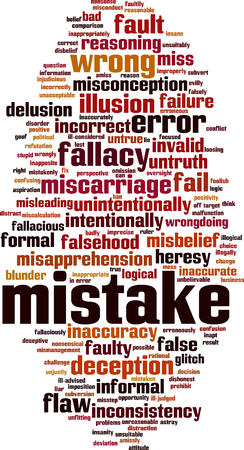 Mistake word cloud concept. Vector illustration Stock Vector - 115003778