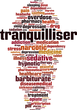 Tranquilliser word cloud concept. Vector illustration Illustration