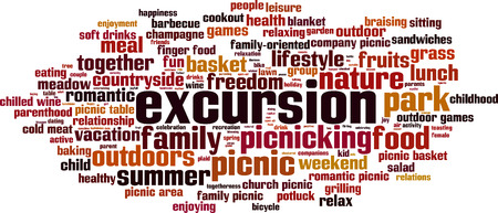 Excursion word cloud concept. Vector illustration