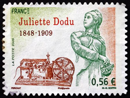 FRANCE - CIRCA 2009: a stamp printed in France shows Juliette Dodu, was a legendary heroine of the Franco-Prussian War of 1870, and the first woman to be awarded the Legion of Honor, circa 2009 Editorial