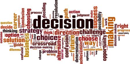Decision word cloud concept. Vector illustration Vecteurs