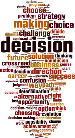 Decision word cloud concept. Vector illustration