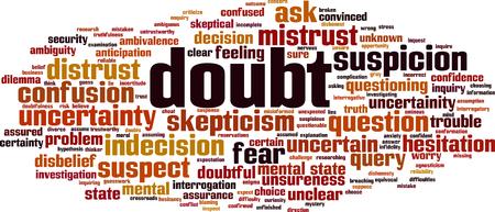 Notion de nuage de mots de doute. Illustration vectorielle Vecteurs