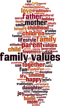 Family values word cloud concept. Vector illustration