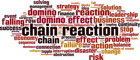 Chain reaction word cloud concept. Vector illustration Vettoriali