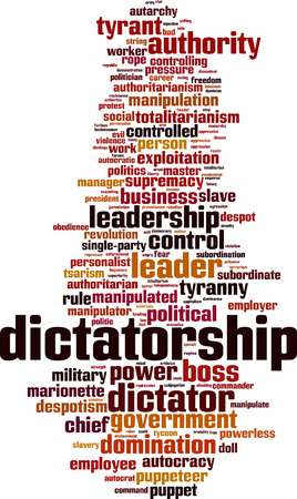 Dictatorship word cloud concept. Vector illustration