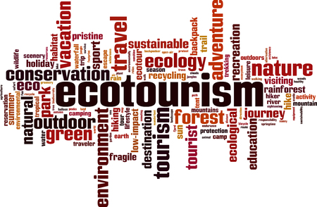 Ecotourism word cloud concept. Vector illustration Illustration