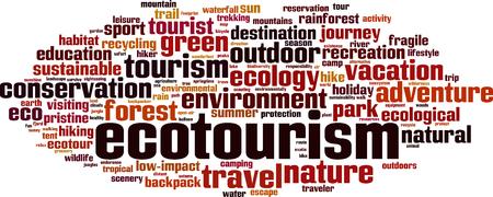Ecoturismo parola concetto di cloud computing. Illustrazione vettoriale