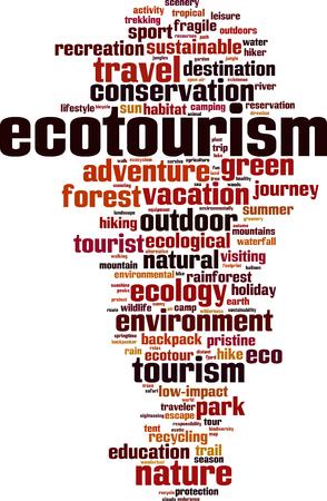 Ecotourism word cloud concept. Vector illustration Illustration
