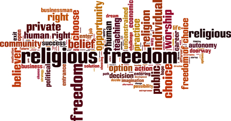 Religious freedom word cloud concept. Vector illustration