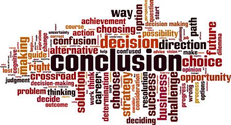 Conclusion word cloud concept. Vector illustration