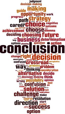 Conclusion word cloud concept. Vector illustration Vecteurs