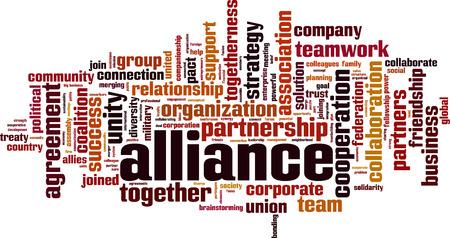 Alliance word cloud concept. Vector illustration Illustration