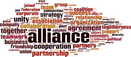 Alliance word cloud concept. Vector illustration Ilustração Vetorial