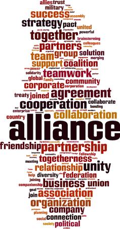 Alliance word cloud concept. Vector illustration