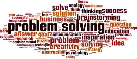 Concepto de nube de word de resolución de problemas. Ilustración vectorial