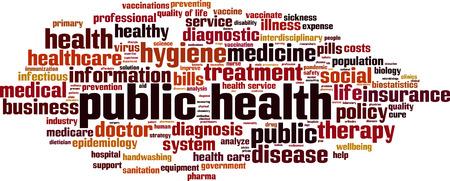 Concepto de nube de word de salud pública. Ilustración vectorial