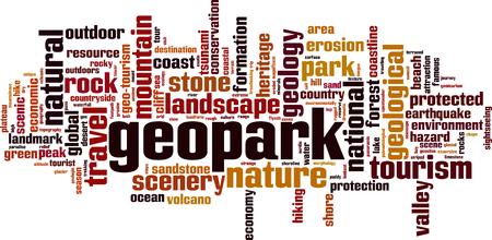 Geopark word cloud concept. Vector illustration Illustration