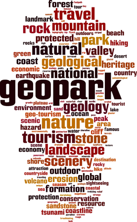 Geopark word cloud concept. Vector illustration Illustration