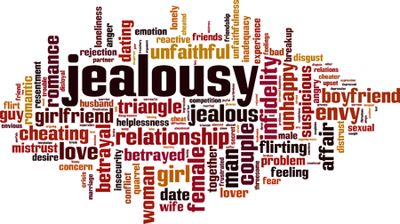 Jealousy word cloud concept. Vector illustration