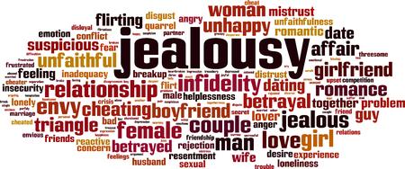 Concepto de nube de word de celos. Ilustración vectorial