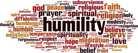 Concepto de nube de word de humildad. Ilustración vectorial Ilustración de vector