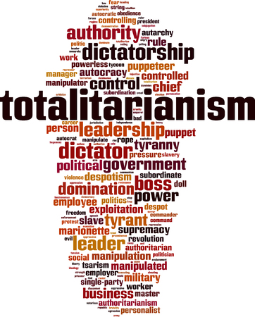 Totalitarianism word cloud concept. Vector illustration