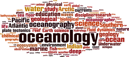 Concetto della nuvola di parola oceanologia. Illustrazione vettoriale