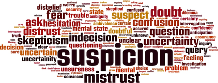 Suspicion word cloud concept. Vector illustration Illustration