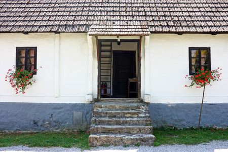 View of traditional peasants house, Zagorje area of Croatia Stock Photo