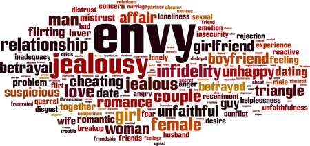 Envy word cloud concept. Vector illustration